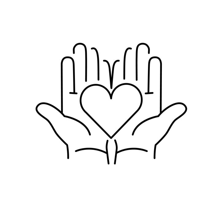 reiki hands heart balck and white